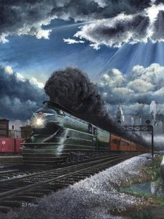 Eastbound Broadway Limited Painting  - Eastbound Broadway Limited Fine Art Print