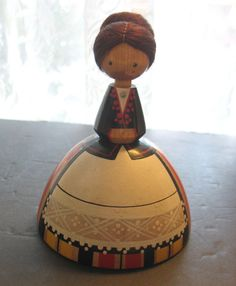"""Vintage SALVO 4 1/2"""" Hand Painted Wooden Doll Girl Estonia USSR Russia Folk Art in Dolls & Bears, Dolls, By Type   eBay"""