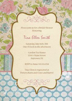 Shabby Chic Baby Shower invite...like this idea! We got pretty close. :)