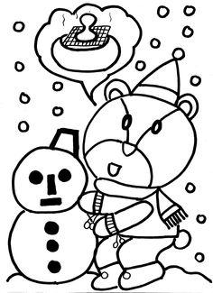 雪だるまを作っているクマちゃん寒いけれど元気!冬