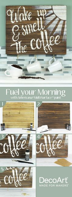 Celebrate your morning cup of joe with this cute and functional wall art DIY from DecoArt.