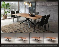 L'innovativo tavolo da pranzo allungabile 4x4 dispone di un sistema di apertura diagonale esclusivo e brevettato. Il prodotto muta nella forma e nell'aspetto visivo, perchè le allunghe, portate in primo piano, incrociano perpendicolarmente la vena del legno creando un raffinato motivo decorativo. www.ozzio.com