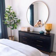 Metal Frame Oversized Round Mirror mirrors over nightstands Metal Frame Oversized Round Mirror Malm Dresser, Wide Dresser, 7 Drawer Dresser, Bedroom Dressers, Dresser With Mirror, Dresser As Nightstand, Nightstands, Oversized Round Mirror, Black Round Mirror