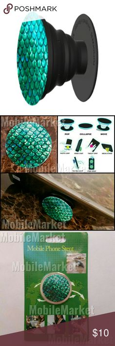 Mobile phone grip/stand mermaid Pop, tilt, wrap, grip, collapse, repeat! Mobile phone stent like a pop socket (popsocket). Have a secure grip while calling, taking selfies, and texting. Use as a phone stand, portrait and landscape mode. and even to wrap your headphones around and prevent tangles and knots!! Retail packaging makes it the perfect gift or stocking stuffer! Accessories