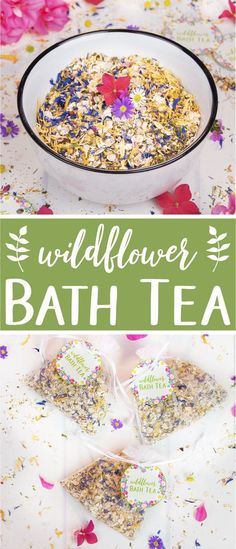 Natural Bath Tea Recipe. A fragrant wildflower bath tea is a great way to relax and care for your skin. This all-natural and vegan bath tea is made with rolled oats, dead sea salt, dried herbs and flowers, and essential oils. The bath tea is a great skincare product year-round and a lovely addition for a spa day at home. It also makes the perfect relaxing gift for someone special. The beauty DIY includes printable labels for packaging and gifting. #bathtea #skincare #essentialoils…