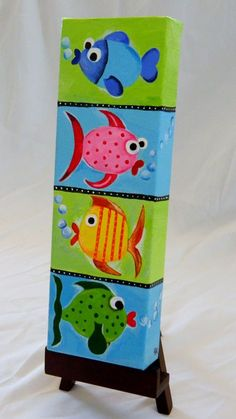 Acrylic Painting on Canvas entitled Fish Stacks -idea! Painting For Kids, Painting & Drawing, Art For Kids, Kids Canvas, Kids Paintings On Canvas, Canvas Ideas, Thinking Day, Arte Pop, Art Party