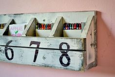 I want to make this!  DIY Furniture Plan from Ana-White.com  Plans to build a Pottery Barn Kids inspired Number Cubby Shelf. This shelf features eight small cubbies in a vintage paint finish. Free simple step by step plans use standard lumber and simple tools. Build this Number Cubby Shelf for under $10.