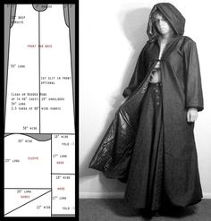 Pattern: Slim Cloak, free pattern. Me, I'd probably go full width on the gores/sleeve to make it fuller or maybe flare the sleeves, and scoot the hood down to the bottom of the pattern... I love these flexible simple patterns! You can play with them!