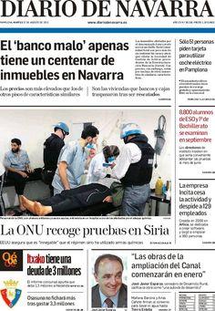 Los Titulares y Portadas de Noticias Destacadas Españolas del 27 de Agosto de 2013 del Diario de Navarra ¿Que le pareció esta Portada de este Diario Español?