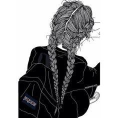 Art girl drawing uploaded by Mielletanne✿ on We Heart It Tumblr Girl Drawing, Tumblr Drawings, Girl Drawing Sketches, Girl Sketch, Tumblr Outline, Outline Art, Outline Drawings, Realistic Drawings, Easy Drawings