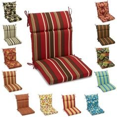 Great Blazing Needles 38 Inch X 18 Inch Patterned Outdoor Spun Poly Three Section  Back/Seat Chair Cushion (Montserrat Sangria (REO 33)), Multi (Fabric),  Outdoor ...
