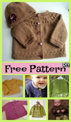 Diy Crafts - freeknittingpattern,freebabypattern-Cute Cozy Knitted Baby Sweater - Free Pattern - DIY 4 EVER : Cute Cozy Knitted Baby Sweater – Free P Baby Cardigan Knitting Pattern Free, Baby Sweater Patterns, Knitted Baby Cardigan, Knit Baby Sweaters, Knit Patterns, Free Knitting, Knitted Baby Clothes, Knitting For Kids, Free Baby Patterns