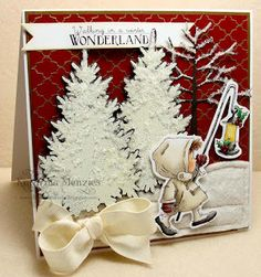 Sweet Christmas Card...with little girl & white textured trees.