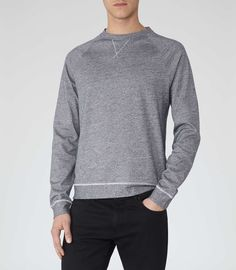 Mens Navy Lightweight Marl Sweatshirt - Reiss Bridge