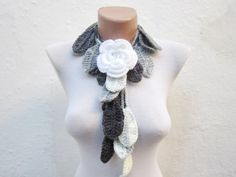 Removeable Brooch Pin Hand crochet Lariat Scarf  Black by nurlu, $20.00