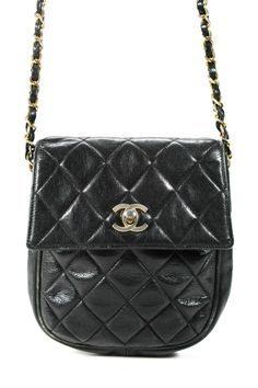 7224f28a1013 #FORSALE Chanel Womens Vintage Quilted Leather Chain Flap Crossbody Handbag  Black #CHANEL
