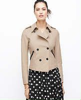 """Society Twill Trench Jacket - Jacket required: flaunting luxe faux leather pockets, our trench-inspired cotton twill jacket instantly upgrades your look. Stand collar with hook-and-eye closure. Long sleeves. Front and back shoulder yoke. Shoulder epaulettes with button tabs. Double breasted button front. Faux leather vertical besom pockets with exposed zippers. Lined. 20 1/4"""" long."""