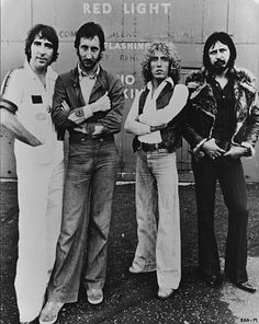 British rock group The Who, comprising of, from left to right; Keith Moon - Pete Townshend, Roger Daltrey and John Entwistle - The group are currently working on a film, 'The Kids Are Alright' Good Music, My Music, The Who Band, Karel Gott, June Carter Cash, John Entwistle, Tammy Wynette, Roger Daltrey, George Jones