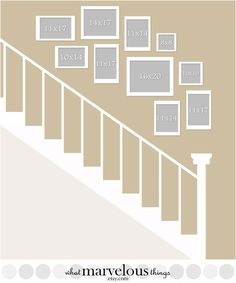 Staircase Wall Display - plan how your exact arrangement will look before you pu. Staircase Wall Display – plan how your exact arrangement will look before you put any holes in your walls! Stairway Photos, Stairway Gallery Wall, Staircase Pictures, Gallery Wall Layout, Gallery Walls, Wall Photos, Art Gallery, Stair Walls, Staircase Wall Decor