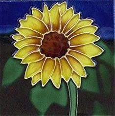 Amazon Sunflower Flower Ceramic Wall Art Tile 8x8