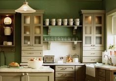 kitchen renovation resources for on a budget- Martha Stewart kitchen cabinets? 1940s Kitchen, New Kitchen, Kitchen Decor, Kitchen Ideas, Green Kitchen, Cheap Kitchen, Country Kitchen, Sage Kitchen, Awesome Kitchen