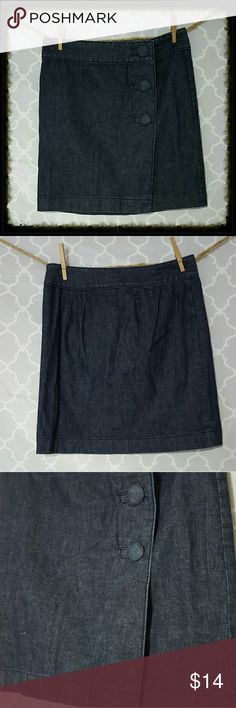 a9f1fd6aea9 Ann Taylor Denim Wrap Skirt with Buttons Ann Taylor dark denim wrap skirt  with buttons down front. Size 4. Excellent condition! Waist 28in Length  18in ...