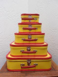 Yellow & Red Suitcases Vintage Set Of 5 by myclosetshelf on Etsy
