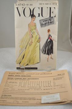 """Vtg 50s 1956 VOGUE """"Special Design"""" Evening Gown Dress Pattern & LABEL! size 12 eBay sold for 32.88 on 7.9.13"""