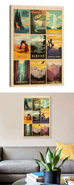 Budding naturalists will adore this wonderful homage to nature's greatest beauties. Decorated with a series of vintage-style travel posters, this Visit Natural Parks Canvas Print beautifully celebrates...  Find the Visit Natural Parks Canvas Print, as seen in the New Arrivals Collection at http://dotandbo.com/collections/new-arrivals-7-slash-5?utm_source=pinterest&utm_medium=organic&db_sku=126479