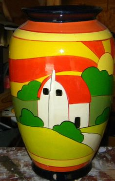 """VINTAGE CLARICE CLIFF INSPIRED ART GLASS VASE- BRIGHT COLORS-NICE WORK- 12"""" TALL 