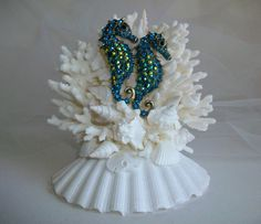 Beach Theme Wedding Cake Topper with Blue Seahorses, Seahorse Shell Wedding Decor, Teal Turquoise Blue Jeweled Seahorse Shell Cake Topper by SeashellBeachDesigns on Etsy