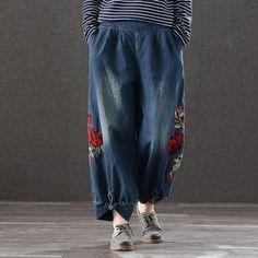 Embroidered Retro Loose Waist Jeans Denim Pants Outfit, Denim Cotton, Loose Pants, Retro Shoes, Fashion Updates, Cotton Style, Linen Pants, Fashion Pants, How To Look Better