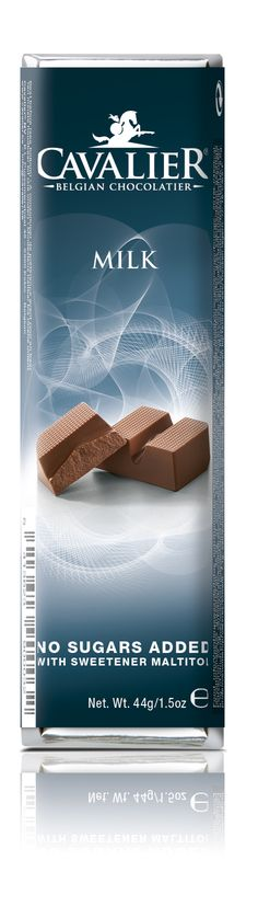 Bar with sweetener Maltitol, milk chocolate. Cavalier the pioneer in no sugars added chocolate.