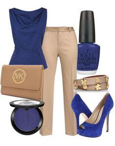 Chic Professional Woman Work Outfit. Michael Kors Apricot Jet Set Leather Wristlet