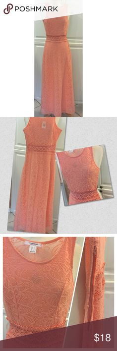 Lace occasional maxi dress NWT Lined evening dress in a paisley lace with sheer upper back & crochet waistband. Zipper on the side.  Shell is 100% polyester & lining is 100% cotton in a lovely cantaloupe color.  Wear with a shrug, cardigan or shawl to any special occasion.  NWT Price firm.  (Retails for $39.00) Dresses Maxi
