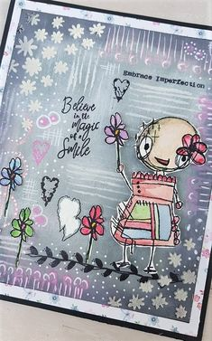 Today I want to show you the work done with a Fiona Paltridge stamp for ALL & Aalland Create by Rosanna Zuppardo Art Journal Pages, Art Journals, Journal Ideas, Handmade Card Making, Paper Crafts, Diy Crafts, Beautiful Handmade Cards, Mixed Media Canvas, Altered Art
