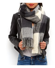 Grey Check Oversized Scarf    New Look
