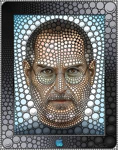 creative portraiture: ••Steve Jobs•• by ©Ben Heine 2014-06 • not as successful as his Bob Marley of Lady Gaga • digital, yes, but drawn manually by placing circles one by one! • info@benheine.com