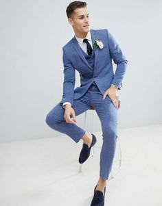 Wedding Suits MORE - Shop ASOS DESIGN wedding skinny suit jacket in provence blue cross hatch with printed lining at ASOS. Summer Wedding Suits, Summer Suits, Wedding Men, Light Blue Suit Wedding, Blue Tuxedo Wedding, Mens Fashion Suits, Mens Suits, Blue Suit Men, Baby Blue Suit