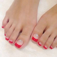 Feet nails, toe nails red, french toe nails, french tip toes, colorful Pretty Toe Nails, Fancy Nails, French Toe Nails, Hair And Nails, My Nails, Manicure E Pedicure, Pedicures, Beach Pedicure, Pink Pedicure