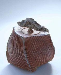 Patricia Shone, 2011. Beaten box 'rain from the west', height 14cm, hand built, wood fired stoneware