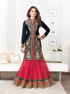 Bipasha Basu Pure Bemberg Stone Work Blue Semi Stitched Long Anarkali Suit - 1001 at Rs 3172