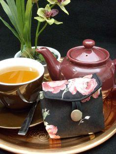 Tea Bag Travel Wallet - Maywood Roses on Black, $9.95