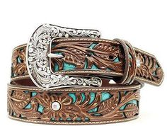 """- Ariat Women's Western Turquoise Inlay Tooled Leather Belt - Rhinestone accents - Genuine Leather - Belt is 1 1/2"""" wide - Buckle is conveniently removable. - Style: A1513402 - Color: Brown"""