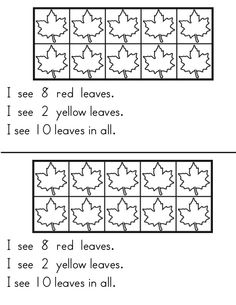 Fall themed emergent reader for students to identify combinations of 10. Students color leaves red or yellow to create combinations of ten in a tens frame.  Also includes an enrichment page that can be used for students to create their own combinations of ten.