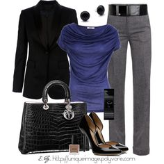 Great outfit for work: Indigo Top, created by uniqueimage on Polyvore