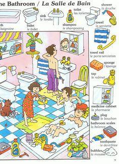 English vocabulary : the bathroom French Language Lessons, Spanish Language Learning, French Lessons, Spanish Lessons, French Flashcards, French Worksheets, French Phrases, French Words, French Teacher