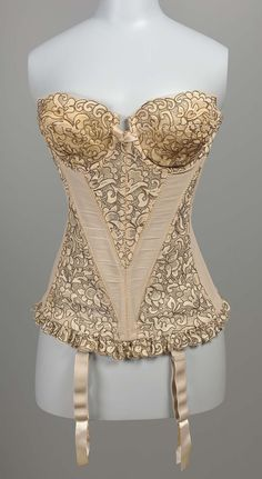 "Merry widow corset ""Champs Elysses"", cotton and rayon with nylon and metal, Warner's manufacturer, American, 1955"