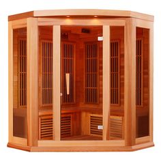 Maxxus 75 Inch Low EMF Far Infrared Corner Sauna with 3 Person Capacity, 9 Carbon Heating Elements, Chromotherapy Lighting, LED Control Panels, SD Card Slot and USB Connection: Natural Red Cedar Sauna Hammam, Canadian Hemlock, Traditional Saunas, Red Cedar Wood, Steam Sauna, Chromotherapy, Thing 1, Infrared Sauna, Lets Go