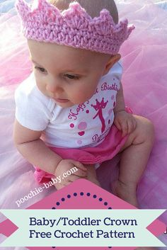 Free Crochet Pattern for Adorable Baby Crown on http://poochie-baby.com